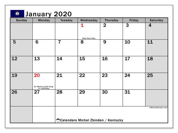 January 2020 Calendar, with the holidays of Kentucky. Holidays calendar to print free.
