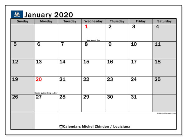 January 2020 Calendar, with the holidays of Louisiana. Free printable calendar with public holidays.