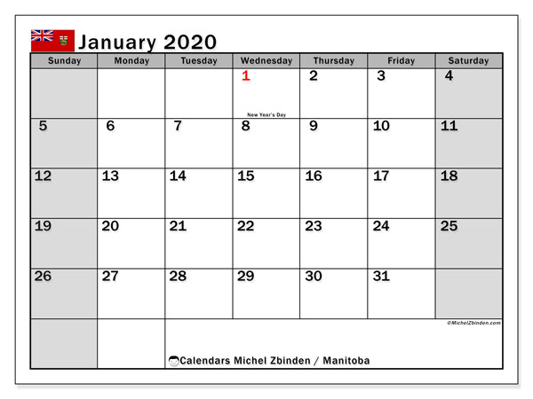 January 2020 Calendar, with the holidays of Manitoba. Free printable calendar with public holidays.