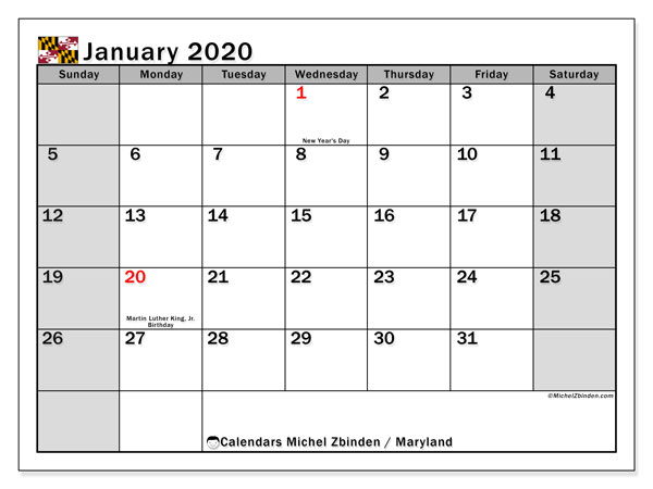 January 2020 Calendar, with the holidays of Maryland. Holidays calendar to print free.
