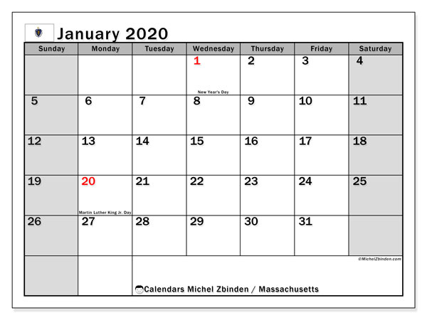 January 2020 Calendar, with the holidays of Massachusetts. Holidays calendar to print free.