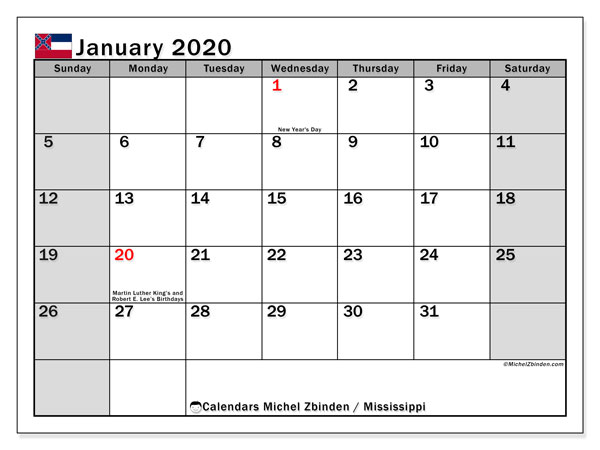 January 2020 Calendar, with the Mississippi holidays. Holidays calendar to print free.