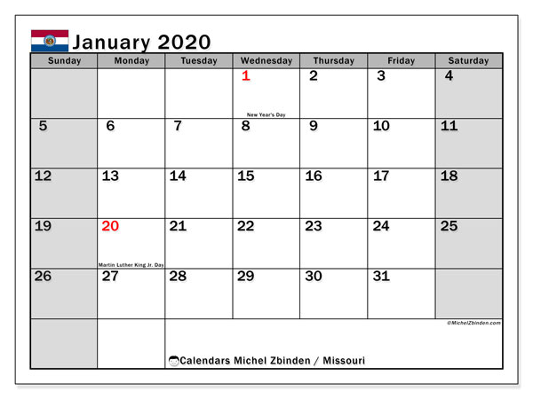 January 2020 Calendar, with the holidays of Missouri. Free printable calendar with public holidays.
