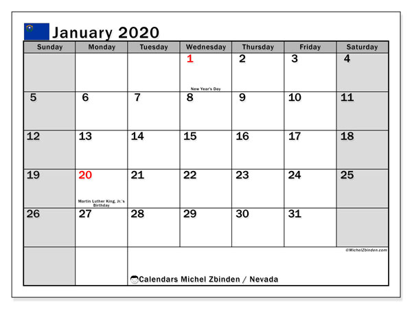 January 2020 Calendar, with the holidays of Nevada. Holidays calendar to print free.