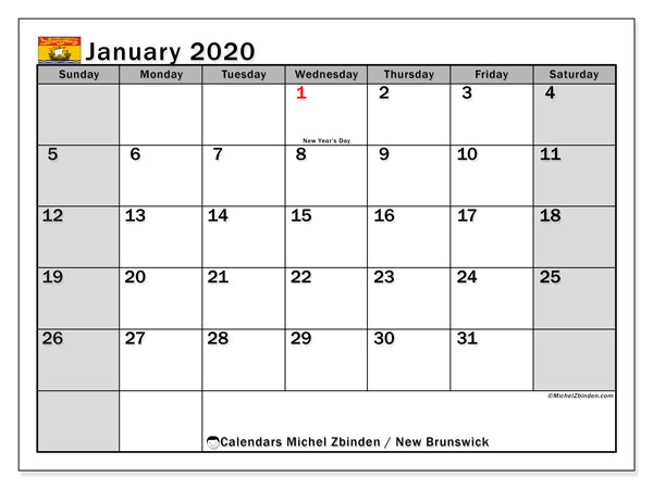 Calendar January 2020 - New Brunswick. Public Holidays. Monthly Calendar and free agenda to print.
