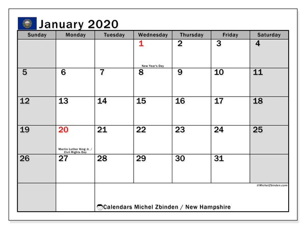 January 2020 Calendar, with the holidays of New Hampshire. Holidays calendar to print free.