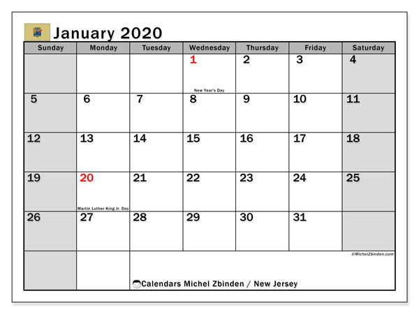 January 2020 Calendar, with the holidays of New Jersey. Free printable calendar with public holidays.