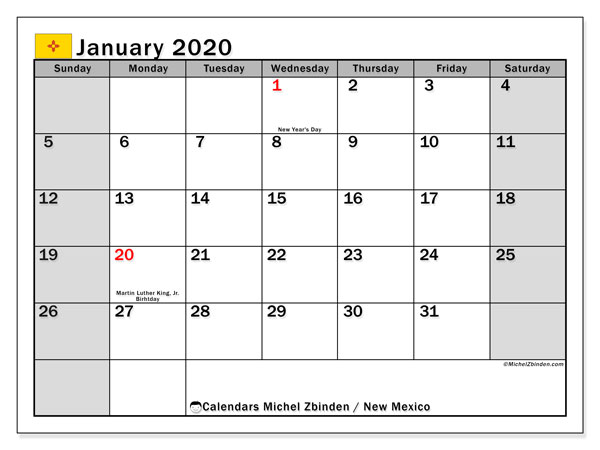 January 2020 Calendar, with the holidays of New Mexico. Free printable calendar with public holidays.