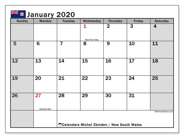 January 2020 Calendar, with the holidays of New South Wales. Free printable calendar with public holidays.