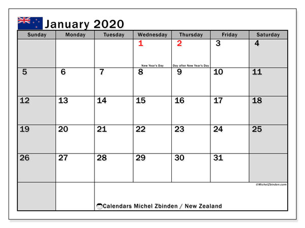 Calendar January 2020, with the holidays of New Zealand. Free printable monthly planner.