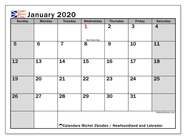 January 2020 Calendar, with the holidays of Newfoundland and Labrador. Holidays calendar to print free.