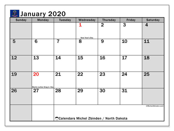 Calendar January 2020 - North Dakota. Public Holidays. Monthly Calendar and free bullet journal to print.