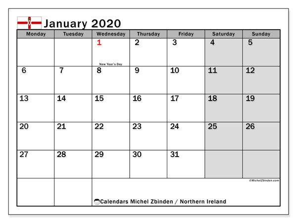 Calendar January 2020 - Northern Ireland. Public Holidays. Monthly Calendar and schedule to print free.