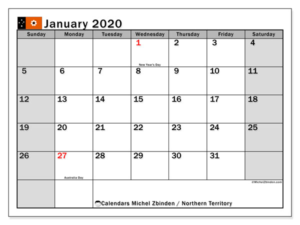 January 2020 Calendar, with the holidays of Northern Territory. Holidays calendar to print free.