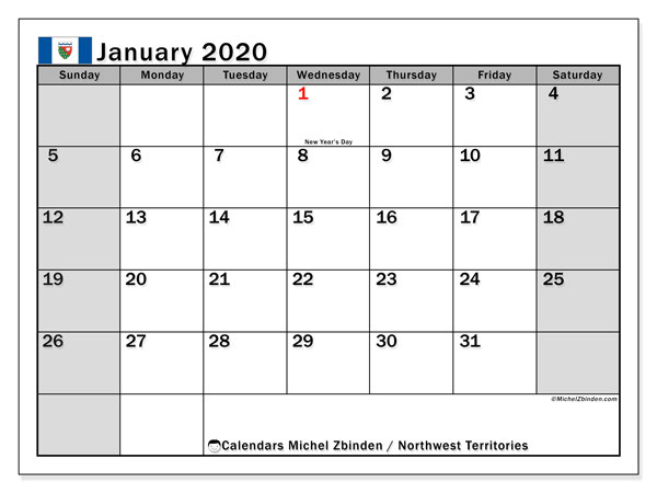 January 2020 Calendar, with the holidays of Northwest Territories. Free printable calendar with public holidays.