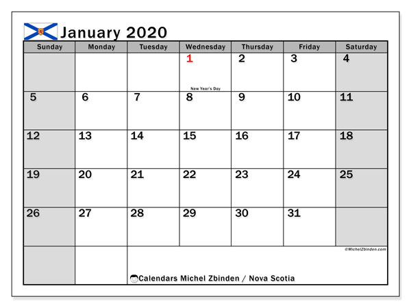 January 2020 Calendar, with the holidays of Nova Scotia. Free printable calendar with public holidays.