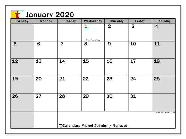 January 2020 Calendar, with the holidays of Nunavut. Free printable calendar with public holidays.