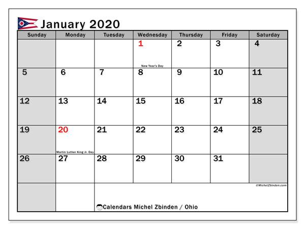 Calendar January 2020 - Ohio. Public Holidays. Monthly Calendar and free bullet journal to print.