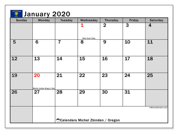 Calendar January 2020 - Oregon. Public Holidays. Monthly Calendar and free schedule to print.