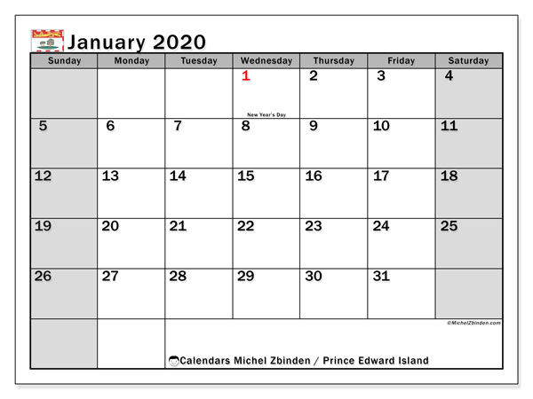 January 2020 Calendar, with the holidays of Prince Edward Island. Holidays calendar to print free.