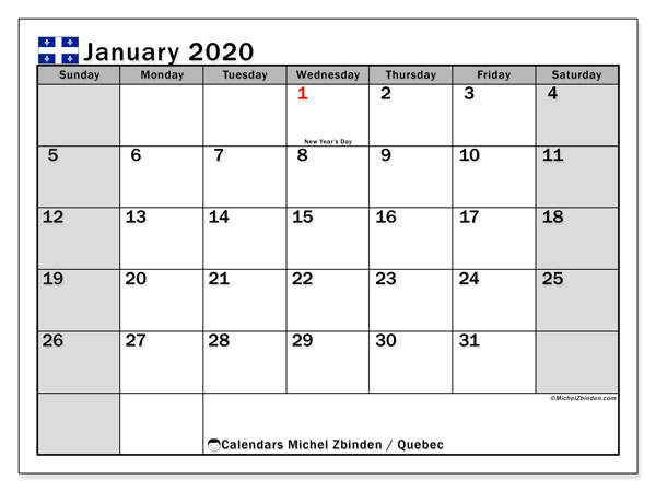 January 2020 Calendar, with the holidays of Quebec. Holidays calendar to print free.