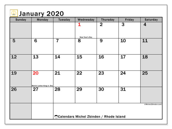 "Printable ""Rhode Island"" calendar with public holidays. Monthly January 2020 calendar and timetable to print free."