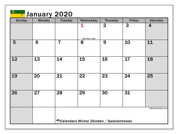 January 2020 Calendar, with the holidays of Saskatchewan. Free printable calendar with public holidays.