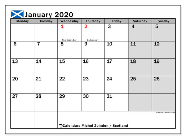 January 2020 Calendar, with the holidays of Scotland. Free printable calendar with public holidays.