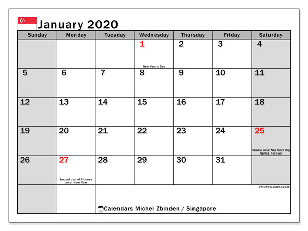 January 2020 Calendar, with the holidays of Singapore. Free printable calendar with public holidays.