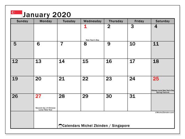 January 2020 Calendar, with the holidays of Singapore. Holidays calendar to print free.