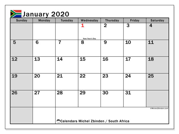 Calendar January 2020, with the holidays of South Africa. Free bullet journal to print.
