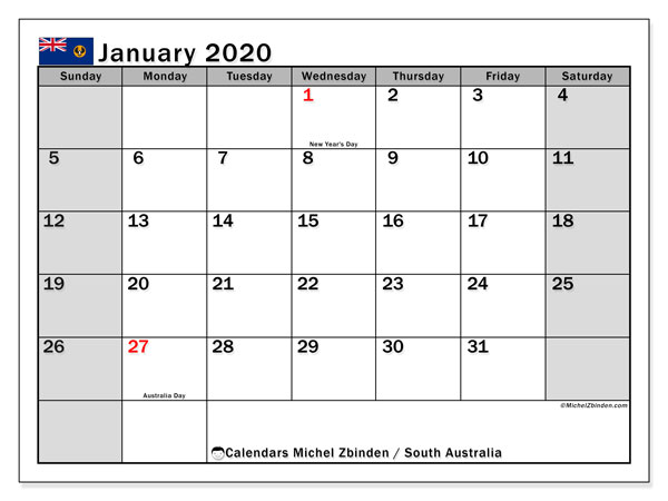 January 2020 Calendar, with the holidays of South Australia. Free printable calendar with public holidays.