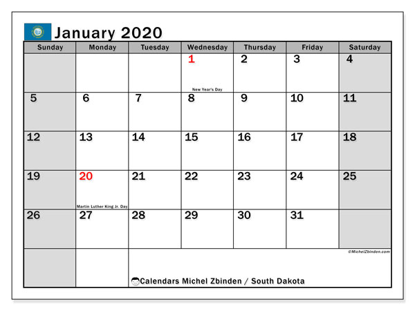 Calendar January 2020 - South Dakota. Public Holidays. Monthly Calendar and free agenda to print.