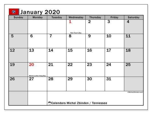 January 2020 Calendar, with the holidays of Tennessee. Free printable calendar with public holidays.