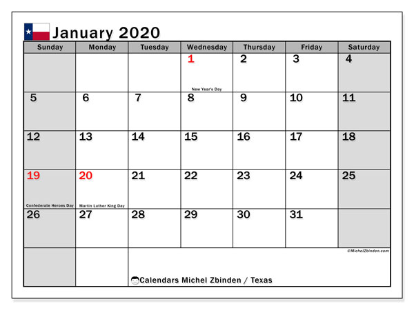 January 2020 Calendar, with the holidays of Texas. Holidays calendar to print free.