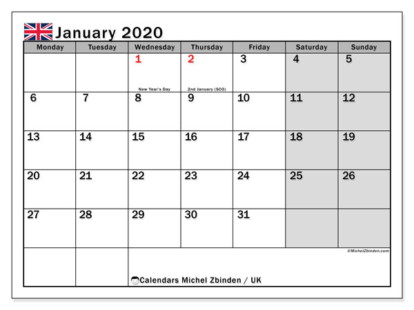 January 2020 Calendar, with the holidays of UK. Holidays calendar to print free.