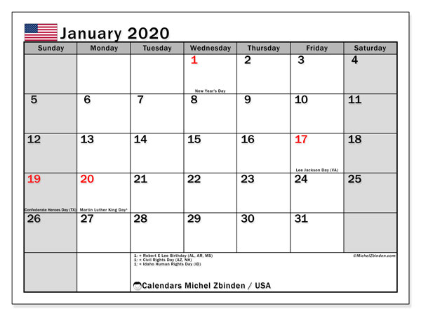 Calendar January 2020 - USA. Public Holidays. Monthly Calendar and free printable schedule.