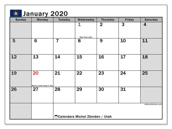 January 2020 Calendar, with the holidays of Utah. Holidays calendar to print free.
