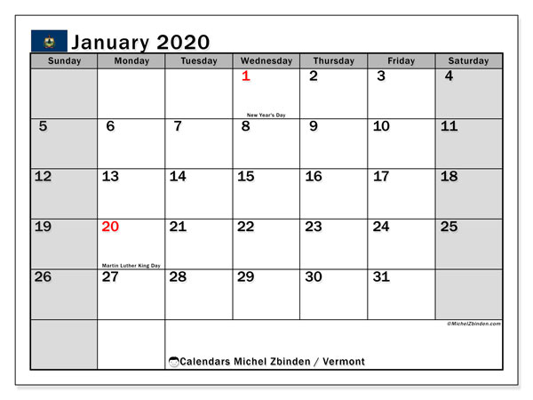 January 2020 Calendar, with the holidays of Vermont. Holidays calendar to print free.