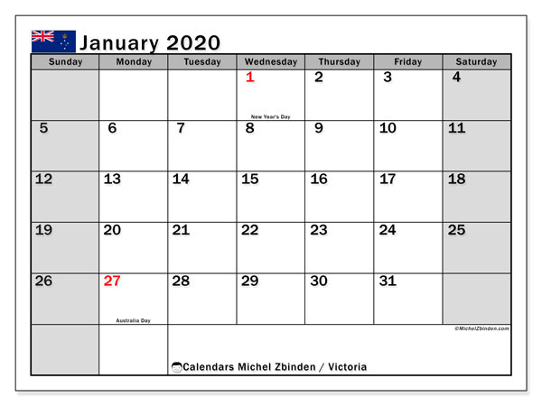 January 2020 Calendar, with the holidays of Victoria. Free printable calendar with public holidays.