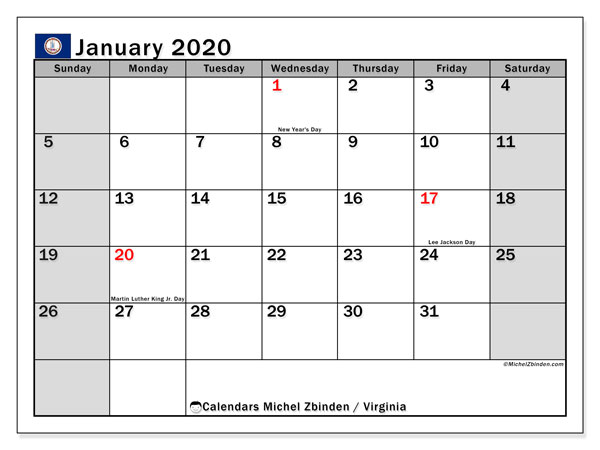 January 2020 Calendar, with the holidays of Virginia. Free printable calendar with public holidays.