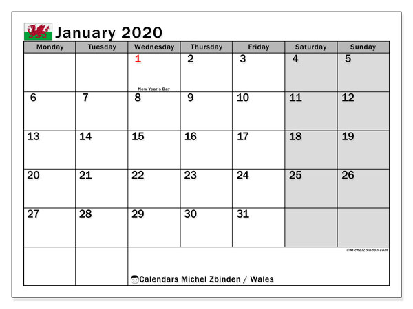 January 2020 Calendar, with the holidays of Wales. Free printable calendar with public holidays.