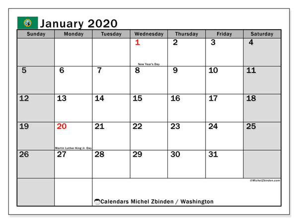 January 2020 Calendar, with the holidays of Washington. Free printable calendar with public holidays.