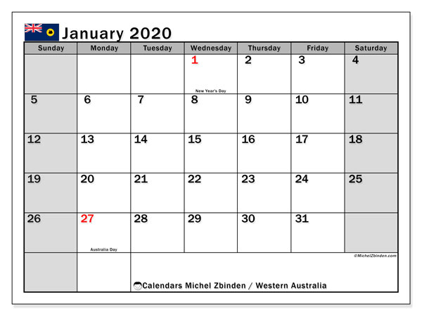 January 2020 Calendar, with the holidays of Western Australia. Holidays calendar to print free.