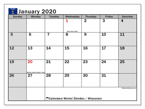 January 2020 Calendar, with the holidays of Wisconsin. Holidays calendar to print free.