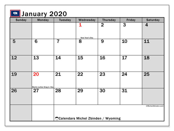 January 2020 Calendar, with the holidays of Wyoming. Holidays calendar to print free.