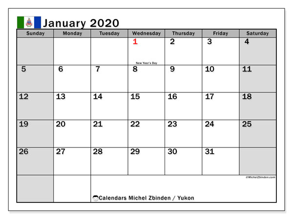 "Printable ""Yukon"" calendar with public holidays. Monthly January 2020 calendar and schedule to print free."