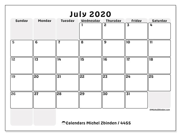 July 2020 Calendar, 44SS. Free printable monthly calendar.