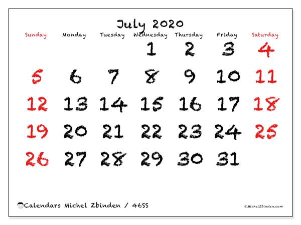 July 2020 Calendar, 46SS. Monthly calendar to print free.