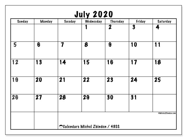 July 2020 Calendar, 48SS. Free planner to print.